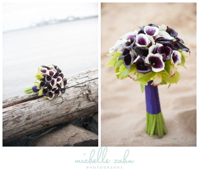 Bridal Bouquet at Chesapeake Bay Beach Club, Waterfront, Bayside, Calla Lilies, Driftwood